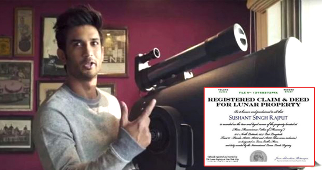 After Shah Rukh Khan, Sushant Singh Rajput Owns A Part Of Land On The Moon
