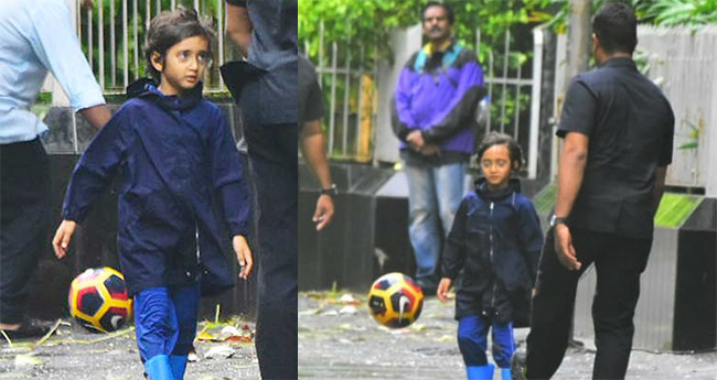 Aamir Khan's Son Azad Enjoys Monsoon and Plays Football with Security Personnel