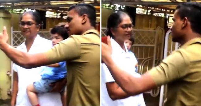 A man came too close to Taimur for selfie, his nanny backs him out immediately
