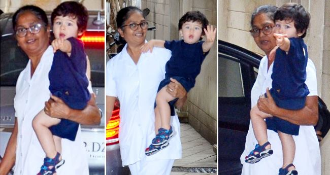 Taimur Ali Khan gets all excited and starts wiggling as soon as he saw the paparazzi