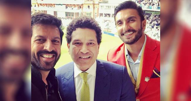 Ranveer Singh looking dapper in tangerine blazer with Sachin Tendulkar and Kabir Khan at Lord's Stadium